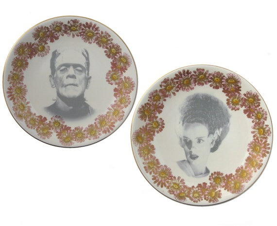Mr. and Mrs. Frankenstein Portrait Plates - Altered Antique Plate Set