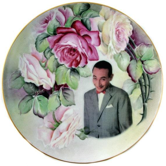 Pee Wee Herman Portrait Plate - Altered Vintage Plate