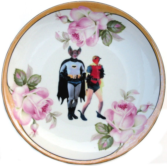Batman and Robin - BFF Portrait - Altered Antique Plate