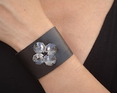 Black Leather Cuff with Vintage Crystals