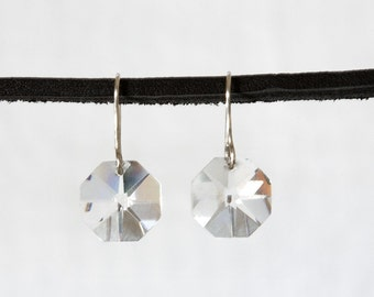 Crystal earrings with sterling silver wire