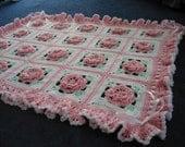 Crochet Rose Blanket Throw Floral Afghan - Made Fresh after sale