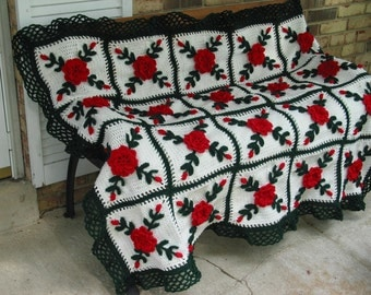 Red Wild Roses Afghan Throw Crocheted Blanket - Made Fresh After Sale - 20 squares