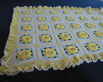 Yellow Rose of Texas Crocheted Afghan - Made Fresh after sale - 48 squares