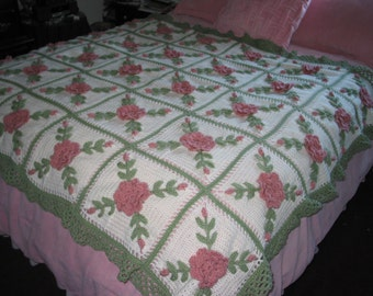 Wild Pink Roses Crocheted Afghan Blanket Throw - Made fresh after sale - 30 squares