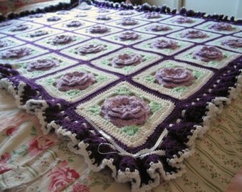 Lavender Rose Afghan with Ruffles, Ribbons & Bows - Made Fresh after sale - 35 squares