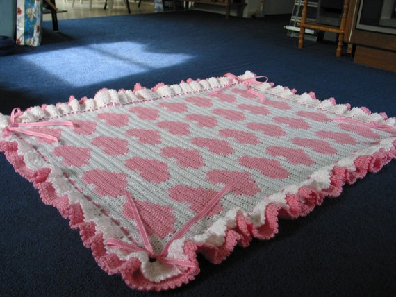 Hearts and Bows Crocheted Baby Blanket Afghan - Pink White - Made Fresh after Sale