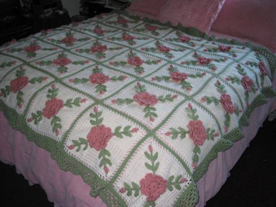 Pink Roses Crocheted Afghan Blanket Throw - Made fresh after sale - 30 squares