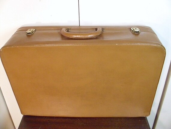 Vintage 1950's Large Leather Suitcase