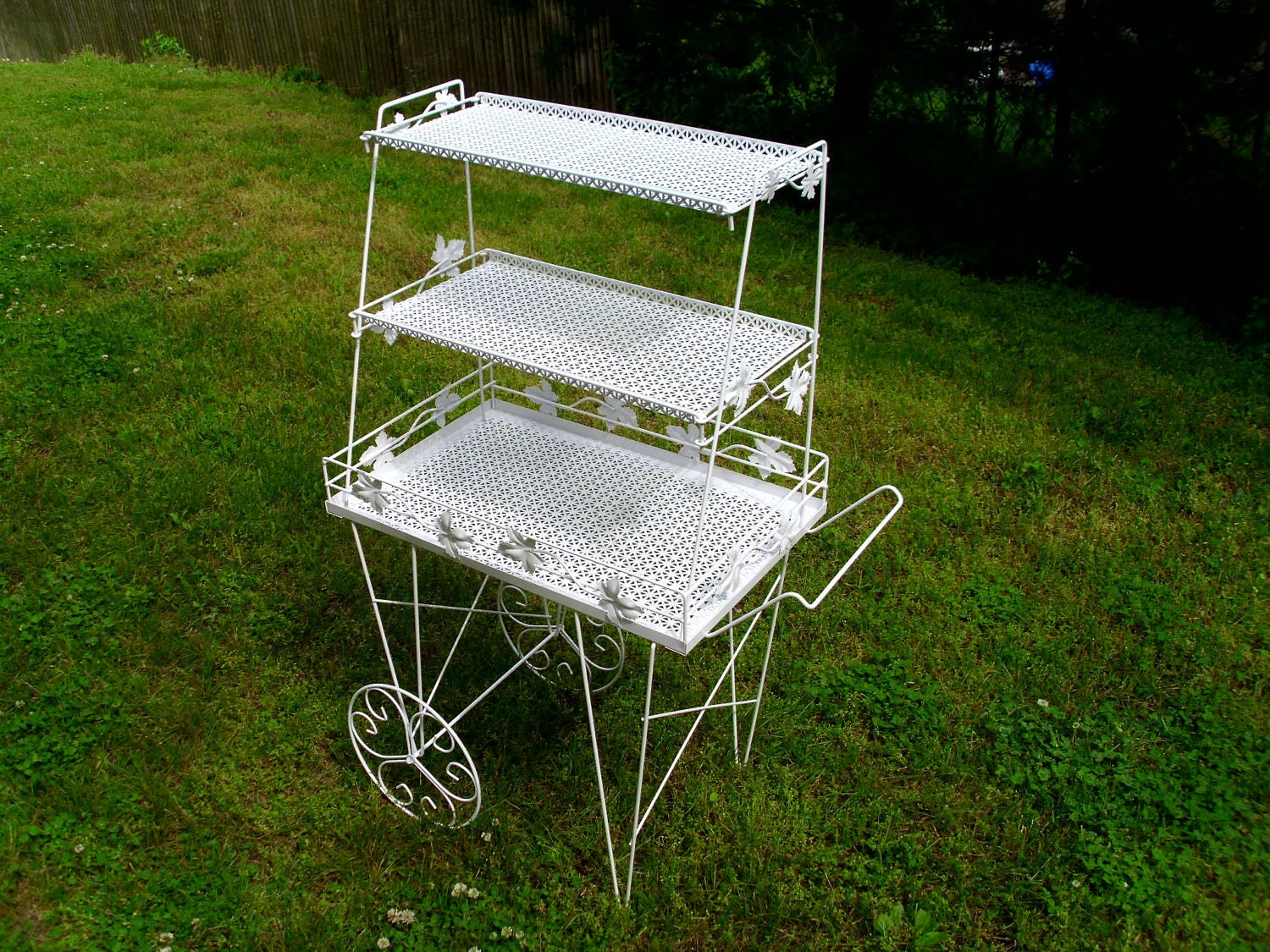 Vintage 3 tier white metal plant stand - Tiered metal plant stand ...