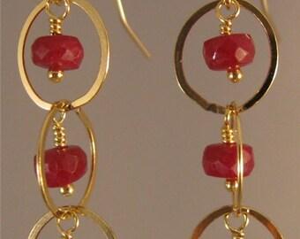 Ruby and Gold cascade hoop earrings,ruby earrings, gemstone earrings, gold earrings,hoop earrings,dangle earrings,drop earrings,ruby