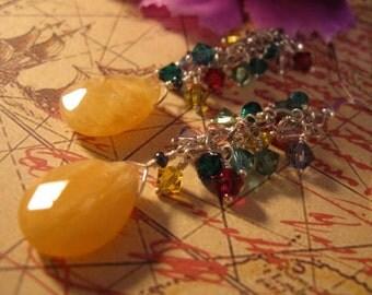 Honey Jade Dangle Earrings,cluster earrings,gemstone earrings,jade earrings,crystal earrings,silver earrings,dangle earrings,drop earrings