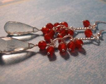 Gemstone cluster Earrings, gemstone earrings, amethyst earrings, silver earrings, gemstone jewelry, february birthstone, birthstone earrings