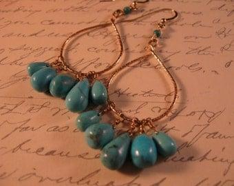 Genuine Turquoise Hoop Earrings, gemstone earrings, gold hoop earrings, gold earrings, hoop earrings, turquiose earrings, drop earrings