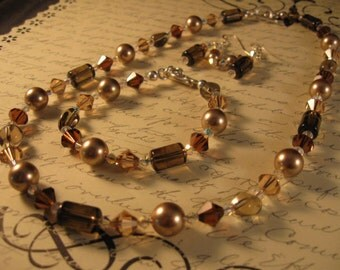 Elegant Gemstone, Pearl and Crystal Bracelet - gemstone bracelet, gemstone jewelry, crystal bracelet, smoky quartz bracelet