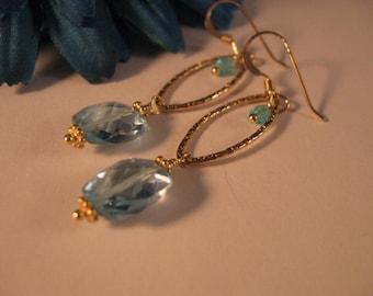 Swiss Blue Topaz Hoop Earrings, gemstone earrings, blue topaz earrings, marquise hoop earrings, gold marquise hoop earrings, drop earrings