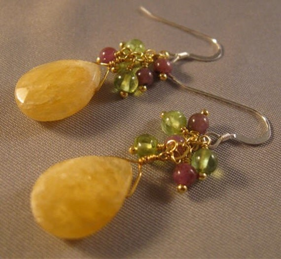 Honey Jade, Ruby, and Peridot Earrings - gemstone earrings, ruby earrings, jade earrings, gold earrings
