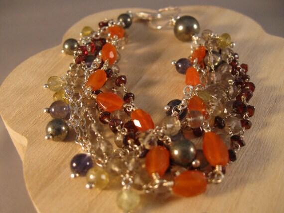 Gemstone and Silver Bracelet - gemstone bracelet, gemstone jewelry, silver bracelet, gemstone cluster, cluster bracelet