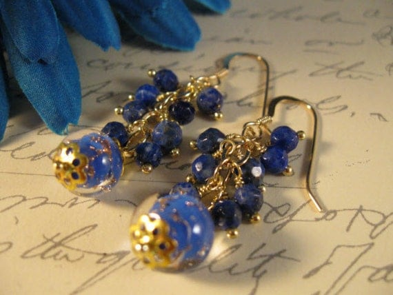 Venetian Glass Gemstone Gold Earrings with Lapis Lazuli - gemstone earrings, gold earrings, blue lapis earrings, gemstone jewelry