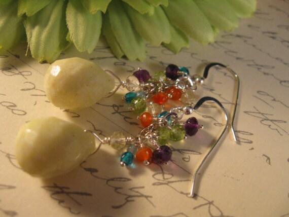 Gemstone Cluster Earrings, gemstone earrings, silver earrings, cluster earrings, gemstone jewelry, dangle earrings, drop earrings,gemstones