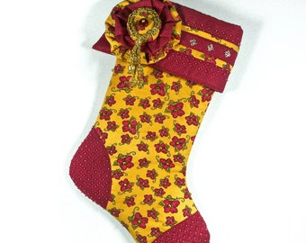 Christmas Stocking - Beaded Marigold, Green and Wine Colors