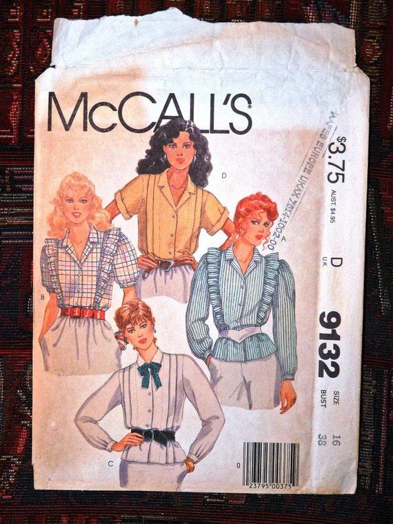 McCalls 9132 (1984) Size 16 Multi View Nursing Blouses (Uncut)