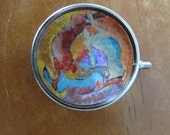 Hand painted three hares pendant