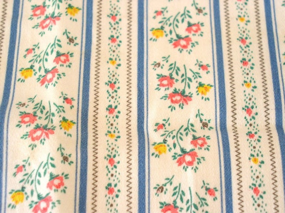 Vintage Petite Pink Flowers Blue Stripe Ticking Fabric  Small Feather Pillow Case