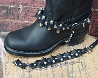 BIKER Boots BOOT CHAINS Black Leather 9mm Bullets