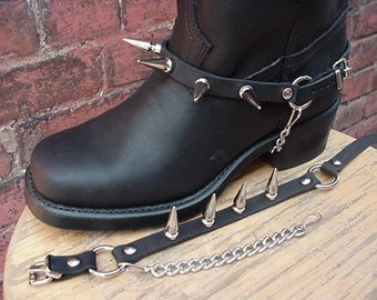 Biker Boots BOOT CHAINS BLACK Leather, Giant Spikes