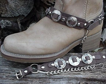 Western BOOTS BOOT CHAINS Brown W 3 1-inch Conchos Np
