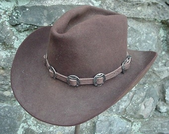 WESTERN HAT BAND Brown Leather 10 Antiqued Conchos