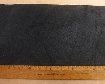 A-1 UPHOLSTERY LEATHER Piece Cowhide Black Lt Wt 1/2 Sf