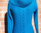 40% OFF SALE Turquoise Cowl Neck Knit Sweater