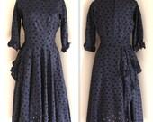 Vintage 1940's Navy Eyelet Applique Floral Dress with Full Skirt (m-l)