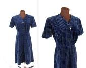 40% OFF SALE 1950s Dress / Blue Velvet / Velveteen Dress (l)