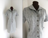 40% OFF SALE Scooter Dress / 1960s Dress / Olive Shift Dress (l)