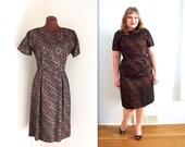 40% OFF SALE 1950s Dress / Lace Illusion Dress / Wiggle Dress (m-l)
