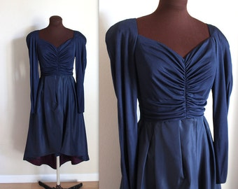 Vintage 1970's Fitted Navy Cocktail Dress with Taffeta Over Skirt (s-m)
