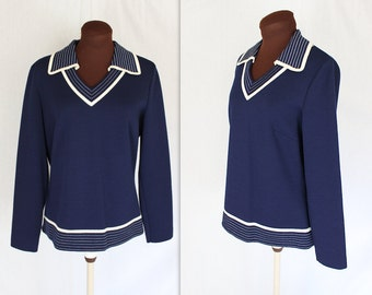 1970s Sweater / Butte Knit Top / Navy and White Sweater