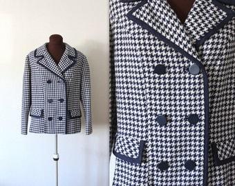 1960s Waistcoat / Roos Atkins / Checker Print Jacket (l-xl)
