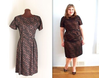 1950s Dress / Lace Illusion Dress / Wiggle Dress (m-l)