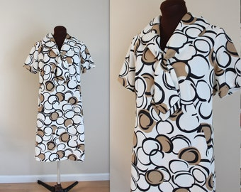 1960s Dress / Sailor Dress / Geometric Print (l-xl)