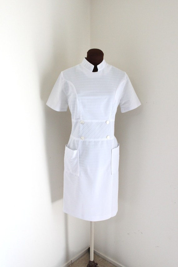 Vintage 1950 S Nurse Uniform White Wiggle By Ironorchidvintage