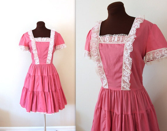 Vintage 1970's Ruffles and Lace Pink Tiered Skirt Dancing Dress (l)
