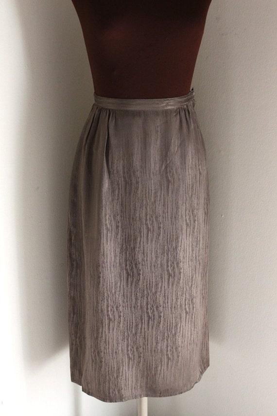 Vintage 1970's Bronze Silk Industrial Abstract Print Skirt (s)