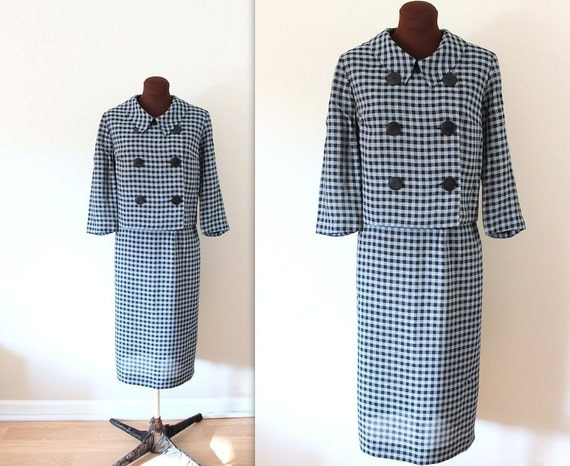 RESERVED 1960s Suit / Cropped Checkered Jacket / Skirt Suit (l-xl)
