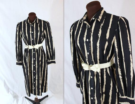 I Magnin Dress / Striped Shirtdress / 1970s Dress
