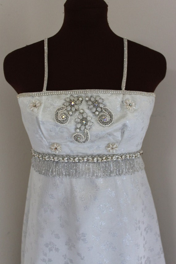 Vintage 1960's Silver Brocade and Beaded Gown with Train  (xxs-xs)