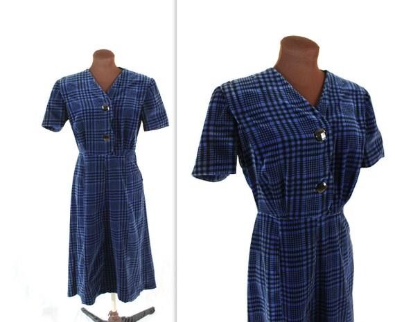 1950s Dress / Blue Velvet / Velveteen Dress (l)
